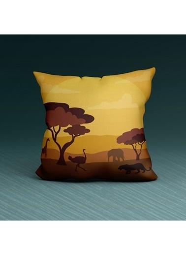 Artikel Çöl Desenli -2 Dekoratif Çift Taraflı Yastık Kırlent Kılıfı 45x45 cm Renkli